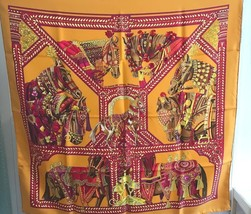 Hermes Carre 90 Scarf Stole La dance du cheval marwari Orange Silk Horse New   - $454.10
