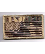 RETIRED CAMO DESERT FLAG 2 X 3  EMBROIDERED PATCH WITH HOOK LOOP - $15.33