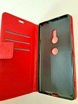 Sony XZ2 Folding Wallet Phone Case Red Magnetic Closure Faux Leather - $8.54