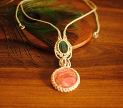 Rhodochrosite necklace, with Labradorite, White macrame, White necklace,... - $100.00