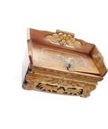 Vintage Chinese Wood Offering Tea Box w/Carvings & Secret Drawer - $125.00