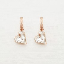Heart Made With Swarovski Crystal Laverback Dangle Earrings Cubic Zirconia E215 image 2