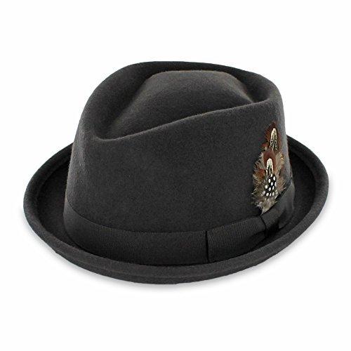 Belfry Crushable Porkpie Fedora Hat Men's Vintage Style 100% Pure Wool in Black