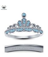 Disney Princess Jasmine Crown Ring In 14k White Gold Plated 925 Sterling... - £40.44 GBP