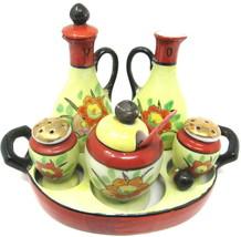 Cruet Set 8 pieces Vintage Japan Tray Condiment Oil Vinegar Mustard Salt... - $78.19