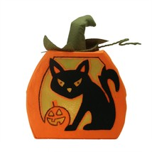 "Northlight 12.5"" LED Orange Felt Black Cat Jack-o-Lantern Halloween Decor - $24.74"