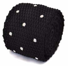Frederick Thomas knitted black and white spotted tie FT1178