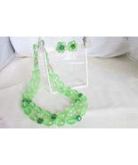 Vintage W Germany Mint & AB Emerald Green Lucite Beads Necklace Earrings... - $22.50