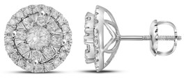 14k White Gold Round Diamond Concentric Circle Frame Cluster Earrings 1 Cttw - $1,349.00