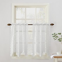 "No. 918 Alison Floral Lace Sheer Kitchen Curtain Tier Pair, 58"" x 36"", W... - $7.05"