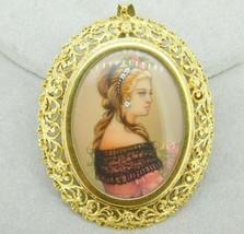 Large 18K Yellow Gold Pierced Hand Painted Portrait Pendant (#J4312) - $950.00