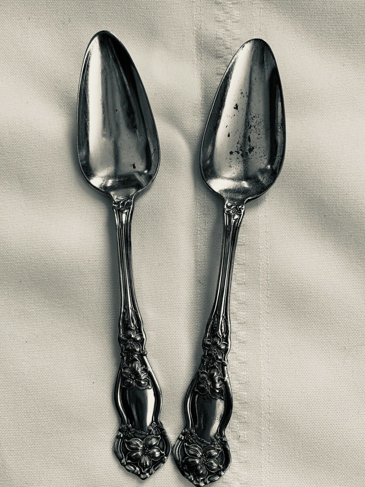 "Primary image for Wm Rogers and Son 1910 Orange Blossom Fruit Spoons 6"" Set of 2"