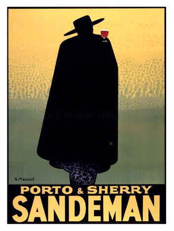 "Primary image for Porto & Sherry, Sandman Advertisement by Georges Massiot, 1931, Wine 8x10"" Silk"