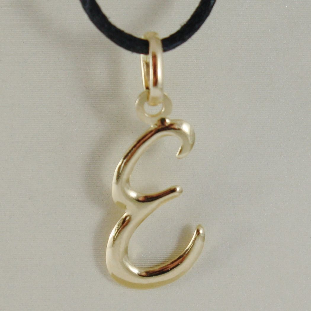 18K YELLOW GOLD PENDANT CHARM INITIAL LETTER E, MADE IN ITALY 1.0 INCHES, 25 MM