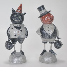 "Cat and Pumpkin People Figurines Set of 2 6"" Tall Halloween Holiday Deco... - $25.69"