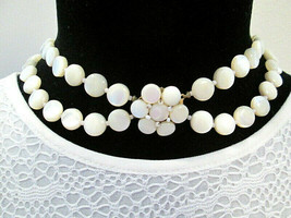 Vintage Estate Mother of Pearl Beaded Necklace with Daisy Flower Box Clasp - $99.99
