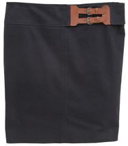 ARMANI COLLEZONI Skirt Belt Dress Black Cotton Straight Clothing 44 8 - $90.25