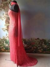 Lillie Rubin Train Dress Women's Coral Silk Sequin Evening Strapless Siz... - $88.11