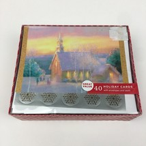 NIB 40 Greeting Christmas Holiday Glitter Cards w Envelopes Seals Church... - $30.84
