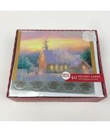 NIB 40 Greeting Christmas Holiday Glitter Cards w Envelopes Seals Church... - $30.84