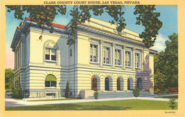 Linen Postcard B699 Clark County Court House Las Vegas Nevada Street View - $7.00