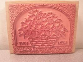 With Love Flower Basket Rubber Card Stamp Linda Grayson Stamps Happen - $7.41