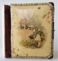 "1800s antique CELLULOID empty LEATHER PHOTO ALBUM 8.25x11"" colonial chil... - $37.95"