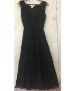 Studio M Sleeveless Ruffle Maxi Dress Black Size 4 Petite Flared Lined Gown - $33.98