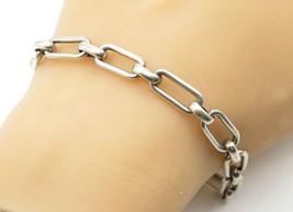 925 Sterling Silver - Vintage Minimalist Smooth Oval Link Chain Bracelet... - $55.71