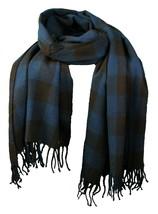 WeSC Unisex Odin Dark Blue Brown Woven Acrylic Winter Scarf Shawl B405933 NWT image 1