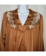 Vintage 70s Vanity Fair Brown Copper Pajama Shirt Top L Lace Button Up U... - $39.55
