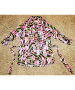 MULTICOLOR LIZ CLAIBORNE ROLL SLEEVE TOP BLOUSE SHIRT BUTTONS POCKETS T... - $14.99