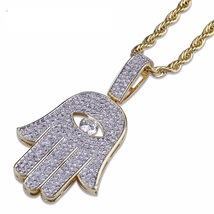 Hip Hop Iced Out hamsa hand evil eye cuban link gold chain pendant with ... - $45.99+