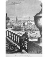 DETROIT Main Square View from City Hall Michigan - 1883 German Print - $21.60