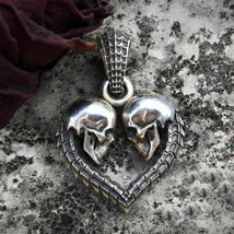 Unique Double Skull Heart Men Necklace Pendant Fashion Unisex Jewelry Fo... - $8.31