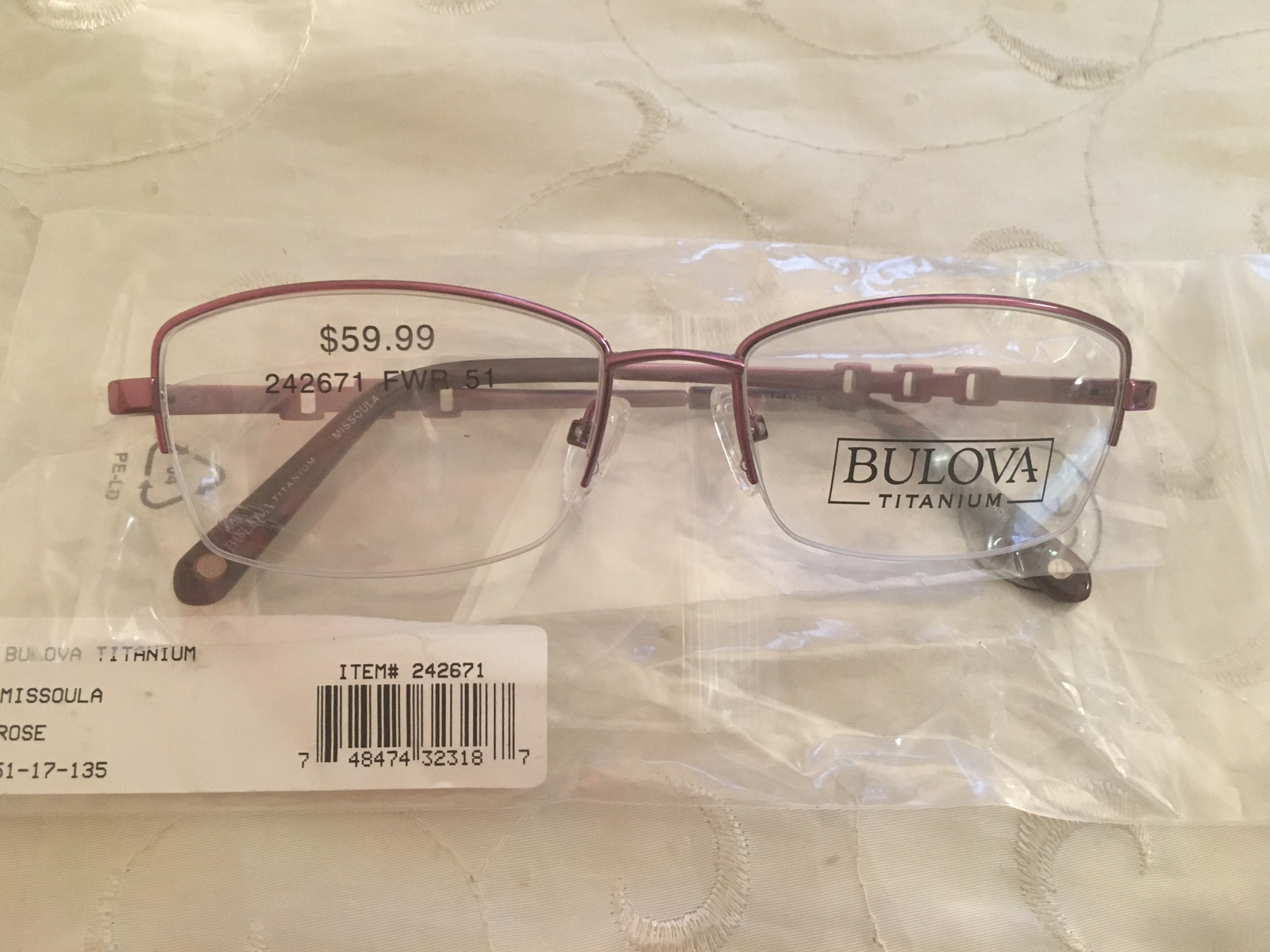 Bulova Missoula Rose Women's Eyeglass Eyeglasses Frames # 24267 51-17-135 - $59.95