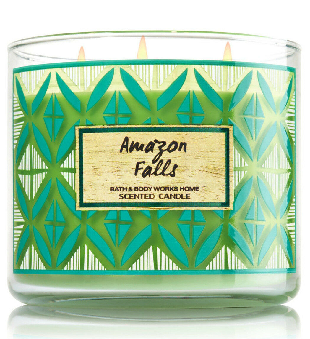 Primary image for Bath & Body Works Amazon Falls Three Wick 14.5 Ounces Scented Candle