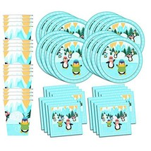 Penguin Birthday Party Supplies Set Plates Napkins Cups Tableware Kit fo... - $38.91