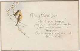 Vintage Easter Card Birds Dogwood Flowers Gold Border - $7.91