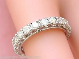 VINTAGE MID-CENTURY 1.89ctw DIAMOND PLATINUM ETERNITY BAND RING 1950 siz... - $2,816.55