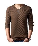 M -4xl Winter Henley Neck Sweater Men Cashmere Pullover Christmas Sweate... - $29.98