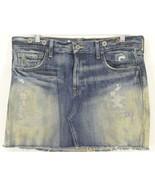 Ralph Lauren skirt denim SZ 30 mini distressed dirty wash patched cute W... - $11.87
