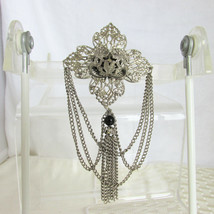 "80s Vintage Ornate Silver Plate Chain Drape Tassel 4.5"" Pin Brooch Black... - $16.19"