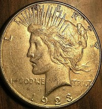 1923-S UNITED STATES SILVER PEACE DOLLAR COIN - Excellent example! - $32.45