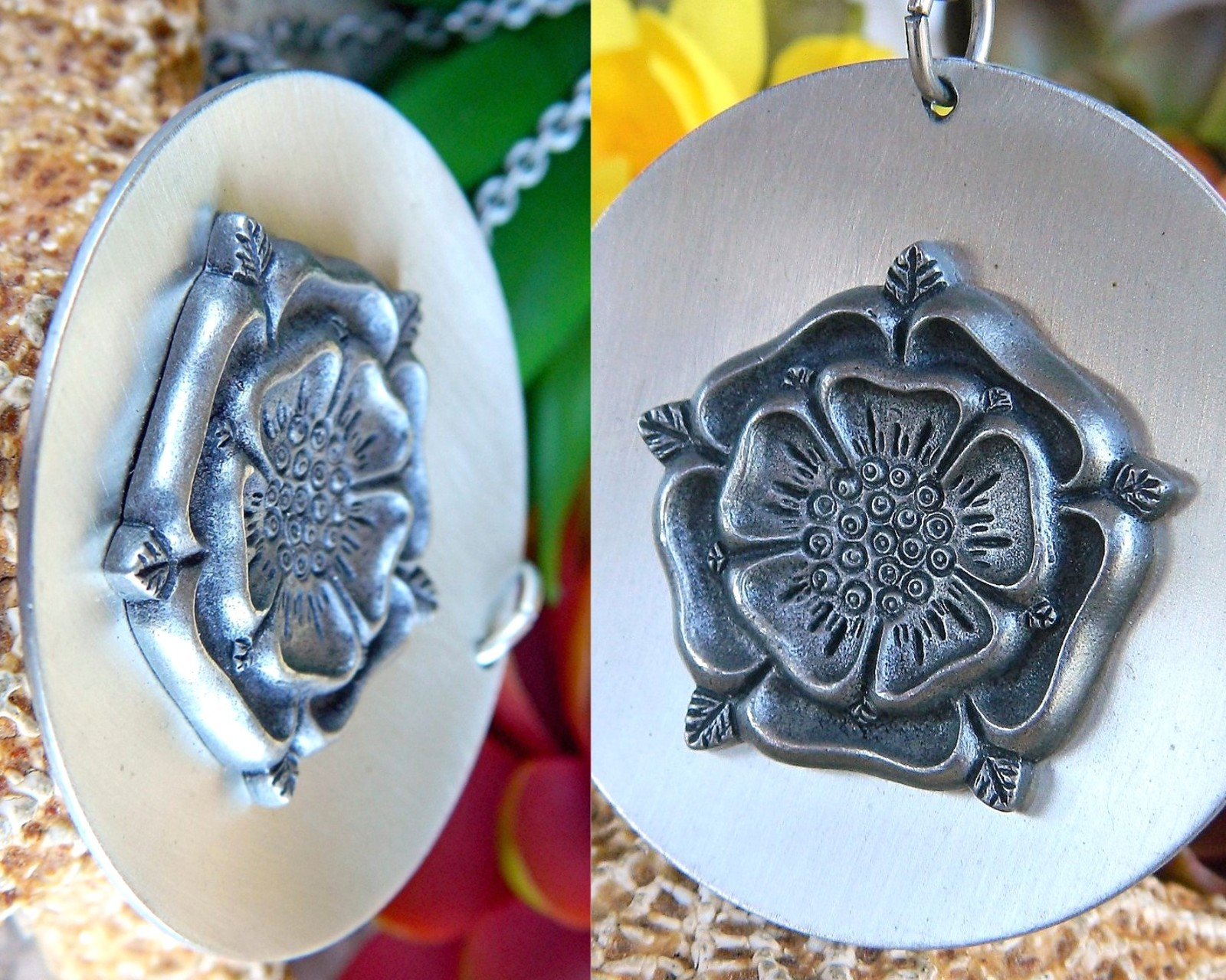 Vintage Tudor Rose Medallion Pendant Necklace Towle Silversmith Pewter