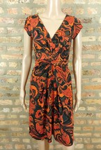 Muse Orange Brown Red Paisley Filigree Ruched V-neck Cap Sleeve Shirt Dr... - $6.80