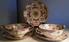 vintage England BOUILLON Cups + Saucers NO DAMAGE Beautiful condition bo... - $139.98