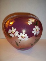 Fenton Glass Raspberry Iridized Carnival Round Vase Daisies Gift Shop Exclusive! - $115.92