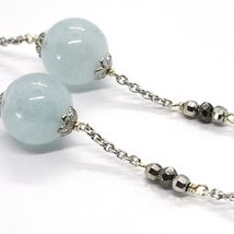 SILVER 925 NECKLACE, AQUAMARINE SPHERES, PIRITE FACETED, CHAIN ROLO' image 4