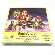 "Santa's List Christmas Cat Dog Bunny 1000 Piece Jigsaw Puzzle SEALED 20""x 27"" - $19.79"